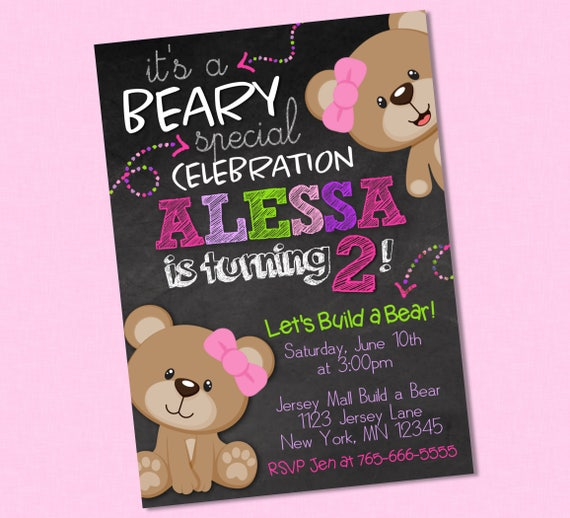 Sweet Girly Teddy Bear Chalkboard Birthday Invitation