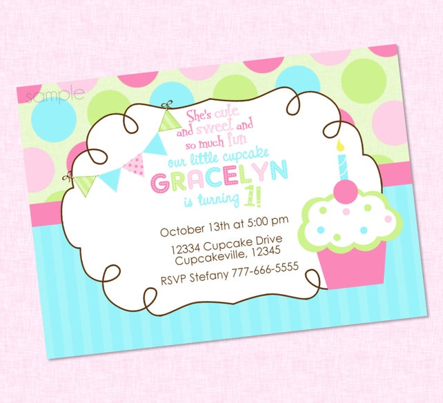 Sweet little cupcake birthday invitation any colors etsy image 0 filmwisefo