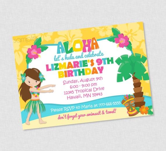 Hawaiian Luau Hula Birthday Invitation Invites