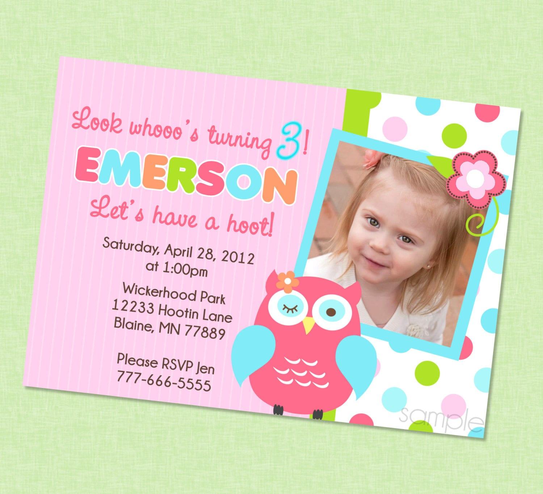 Cute owl photo birthday invitation owl birthday invites etsy zoom filmwisefo