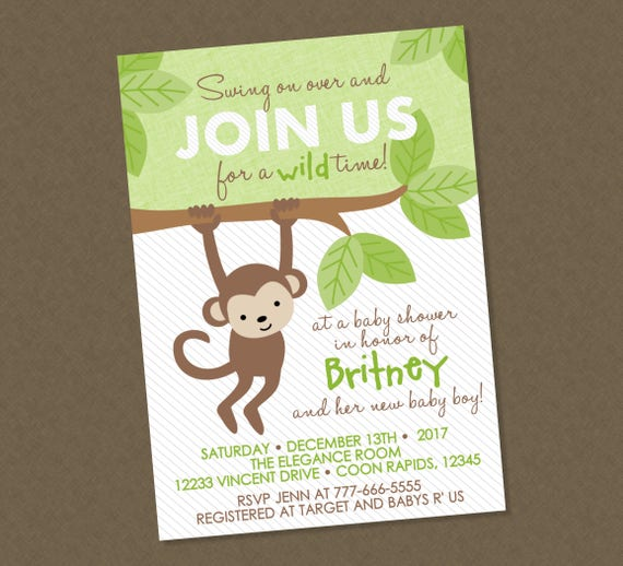 Sweet monkey baby shower invitation monkey baby shower etsy image 0 filmwisefo