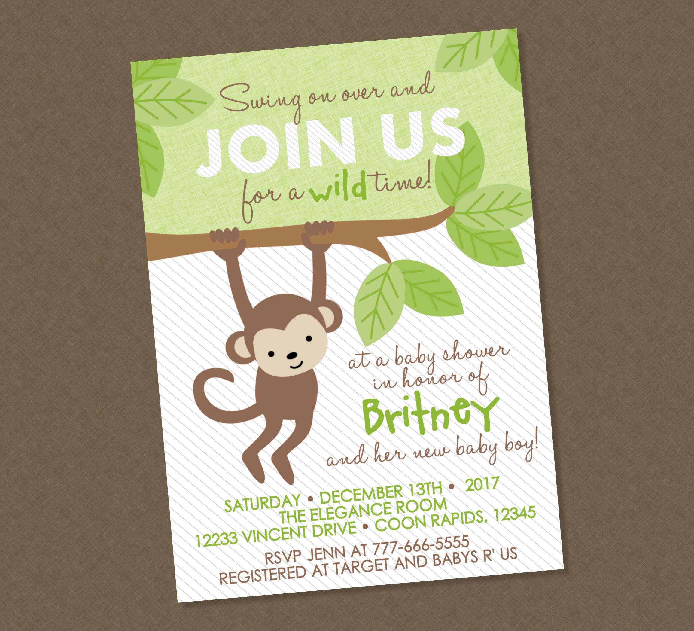 Sweet monkey baby shower invitation monkey baby shower etsy zoom filmwisefo