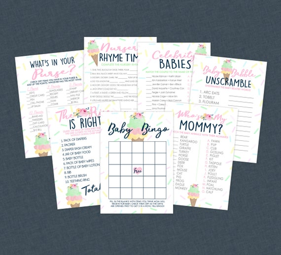 Ice Cream Printable Baby Shower Games Party Pack Of 7 With Answer