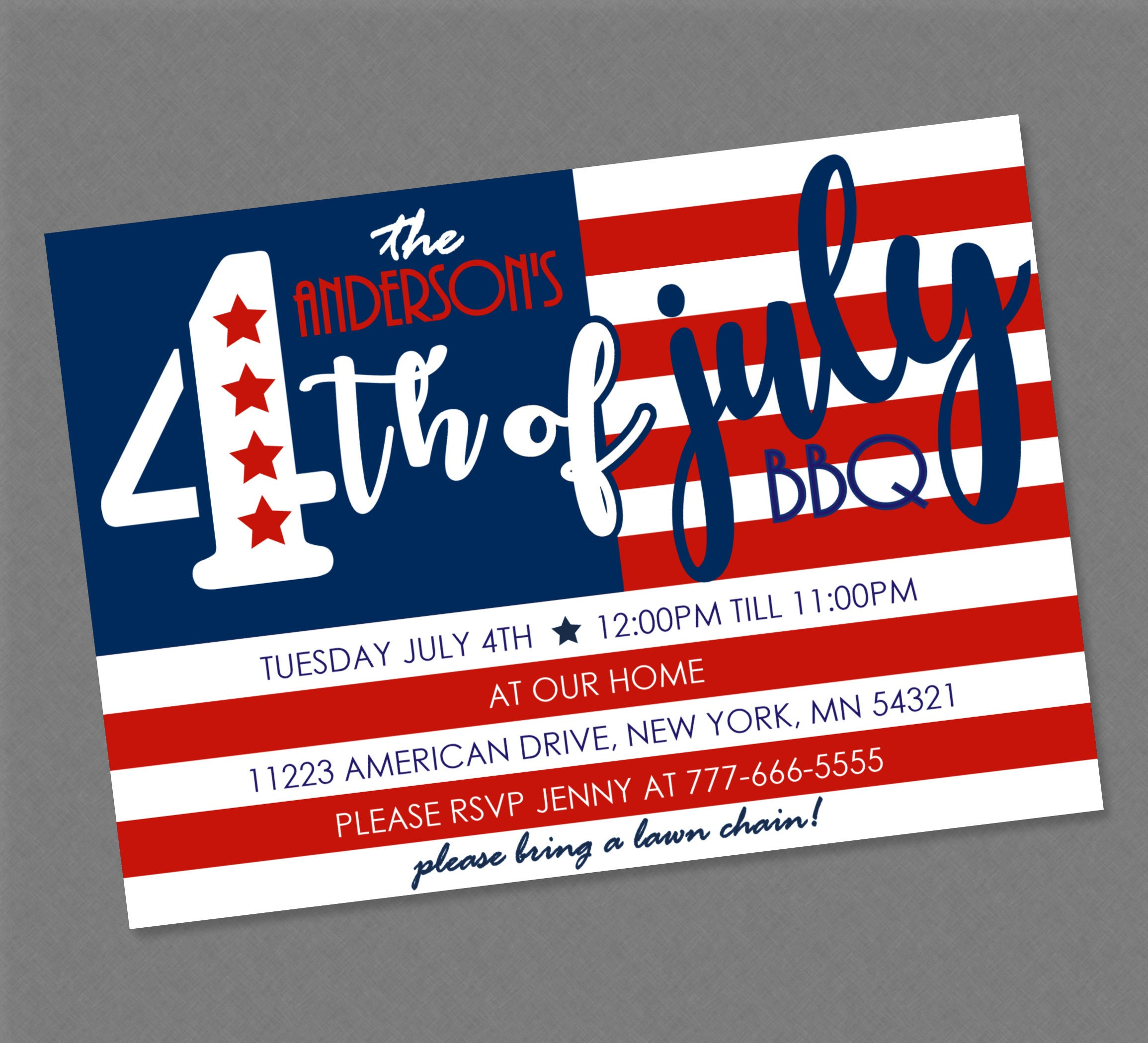 Fourth of July American Flag Party Invitation 4th of July   Etsy
