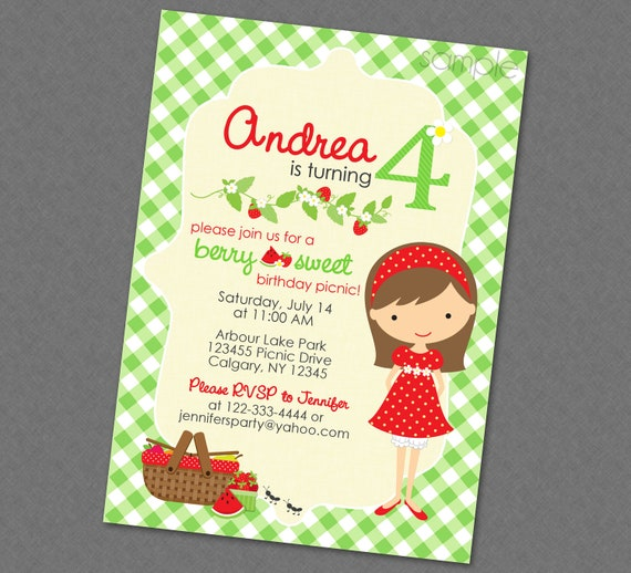 sweet picnic birthday invitation multiple hair styles available
