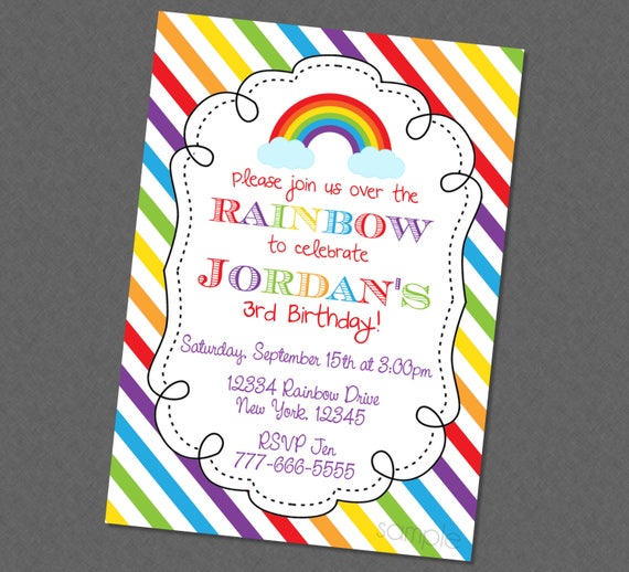Over The Rainbow Birthday Invitation Invite