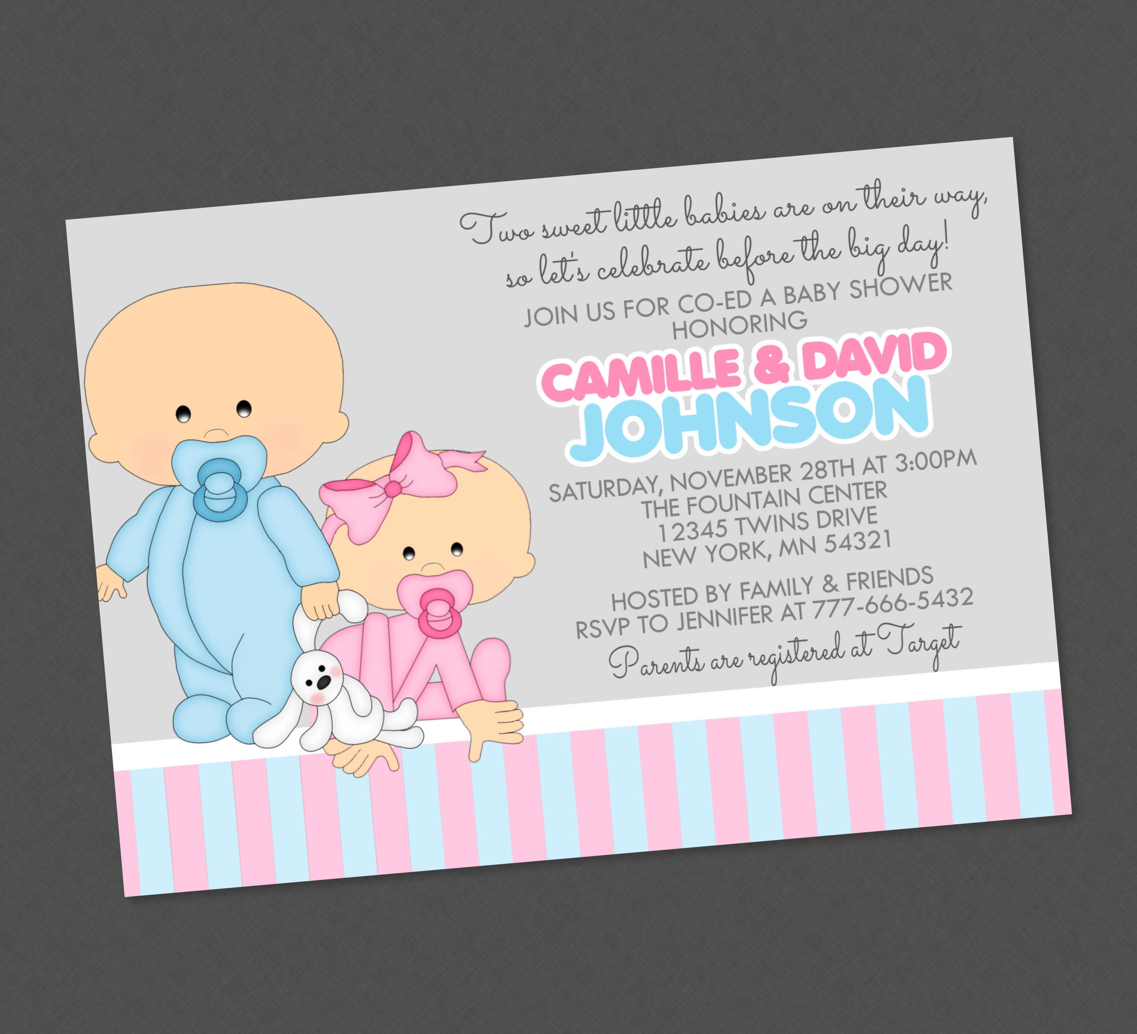 Twin boy girl baby shower invitation any colors available etsy zoom filmwisefo