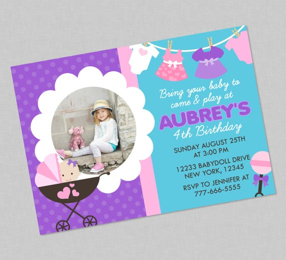 Baby Doll Birthday Invitation Available With Or Without Photo