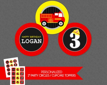 Cool Firetruck 2'' Cupcake Toppers / Birthday Party Circles