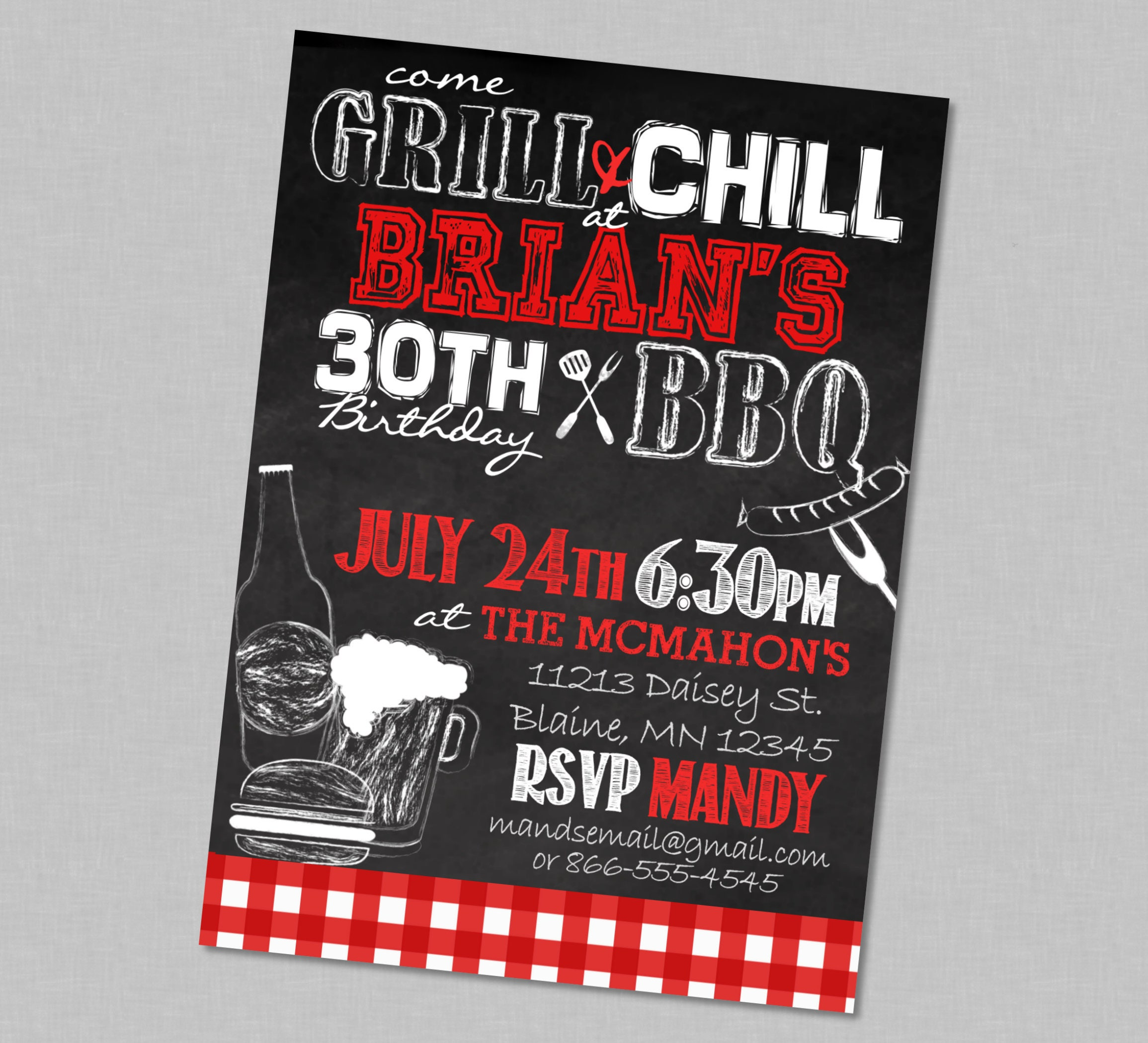 Adult Birthday BBQ Chill & Grill Party Invitation Backyard | Etsy