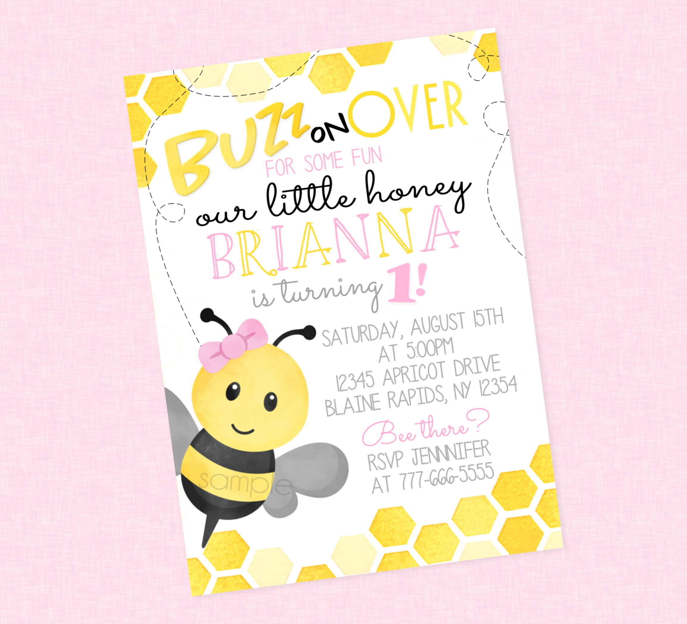 Honey Bee Birthday Invitation Girl Bee Birthday Invites | Etsy