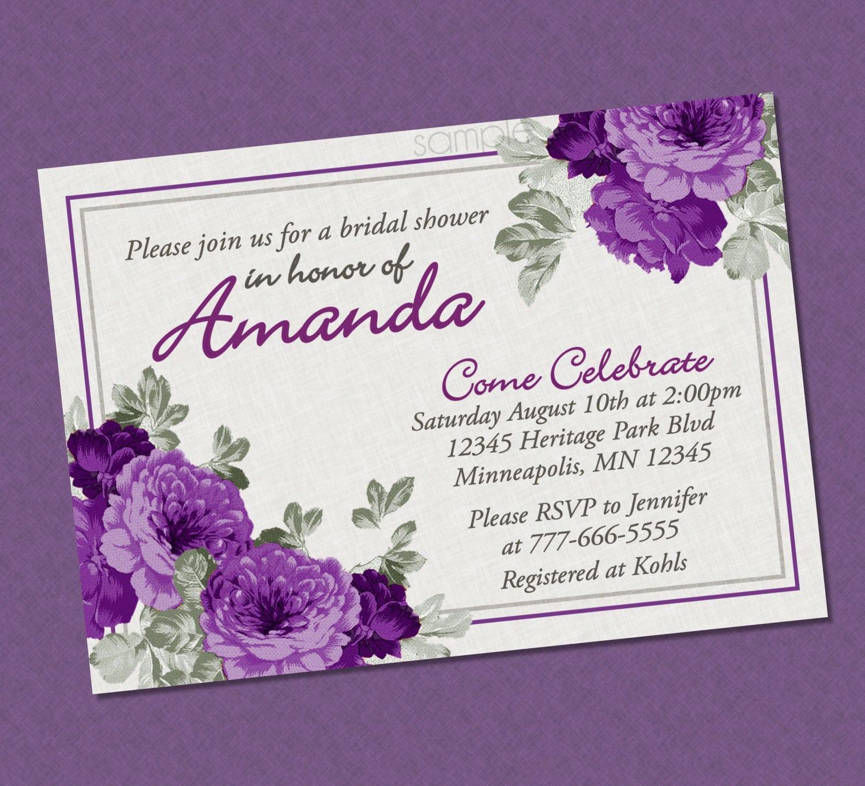 Elegant floral bridal shower invitation purple bridal shower etsy zoom filmwisefo