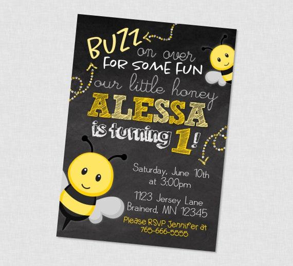 Bee buzz on over chalkboard birthday invitation bee birthday etsy image 0 filmwisefo