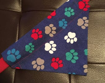 Dog bandana, over the collar dog bandana, bandana, dog, paw prints