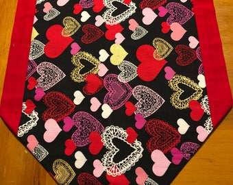 Table runner, valentines table runner, hearts, red, gold, black, pink, white