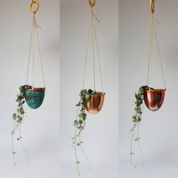 Handmade Solid Copper Hanging Plant Pot//Planter