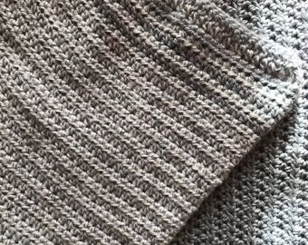 Two Tone Gray Crochet Baby Blanket