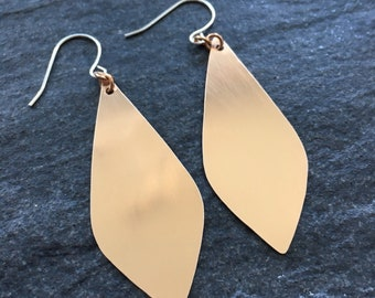 Teardrop Earrings - Bronze Earrings - Geometric Earrings - Minimalist Earrings - Modern Dangles - 0050