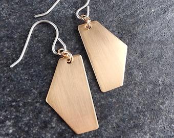 Hexagon Earrings - Half Hex Earrings - Geometric Earrings - Bronze Earrings - Minimalist Earrings  0044