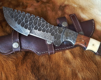Forged Damascus Tracker Knife With Leather Sheath