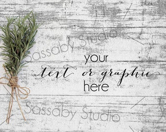 Download Free Rosemary on Wood Styled Stock Photography / Product Mockup / Styled Photo / Blog / Website / Sassaby Studios / Greenery Timber #8905 PSD Template