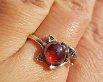 Adjustable Ring 925 Sterling Silver Ring With 5*7mm Natural Gemstone Garnet RoseWhite Gold Plated
