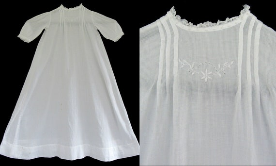 Antique Vintage Baby or Doll Christening Gown Nig… - image 1