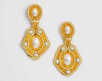 Earrings. Soutache earrings. Dangle earrings. Drop earrings. Statement earrings. Long earrings. Gift for woman. Soutache jewelry. ROYAL
