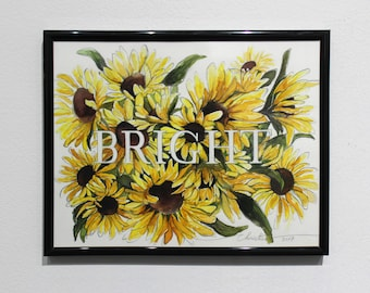 Bright, original painting, sunflower, sunflower painting, yellow painting, yellow, painting, botanical painting, flower painting, wall décor