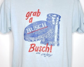 0b4c332eeb6155 Busch Beer T Shirt Vintage 80s Grab A Busch And Enjoy 50 50 Made In USA  Mens Size Large