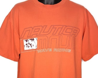 9214e29a66a50 Nautica T Shirt Vintage 90s Maui Wave Riding Spell Out Made In USA Mens  Size Medium