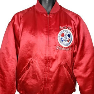 Apache Gold Hotel Casino Satin Bomber Jacket Vintage 80s Native American Made In USA Mens Size Large