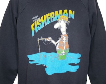 30f70fc8d9 Fisherman Sweatshirt Vintage 80s Fishing Fish Outdoors Made In USA Mens Size  Large