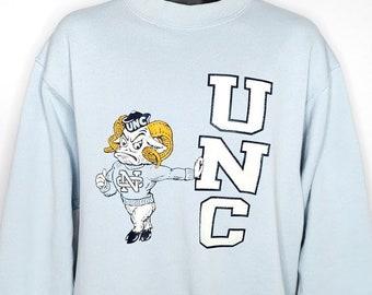 4e2020ccafd6 North Carolina Tar Heels Sweatshirt Vintage 80s UNC University Of North  Carolina Ramses Made In USA Mens Size XL