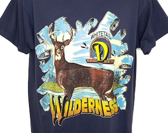 ae204e72cdd72 Whitetail Deer T Shirt Vintage 80s Wilderness 50/50 Made In USA Mens Size  Large