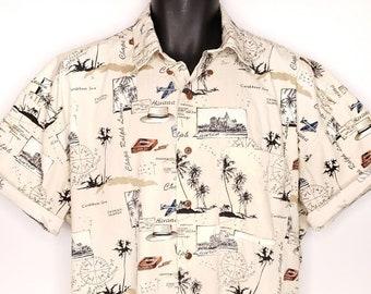 8e6aa465 Chaps Ralph Lauren Hawaiian Shirt Vintage 90s Camp Caribbean Havana Mens  Size Large