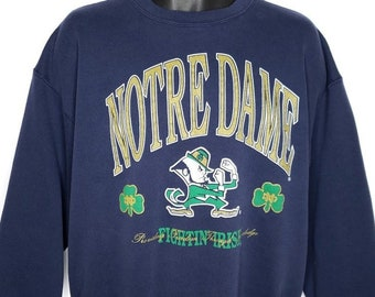 0dff5f08 Notre Dame Fighting Irish Sweatshirt Vintage 90s Spellout Made In USA Mens Size  XL