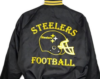e60c1bf58 Pittsburgh Steelers Satin Bomber Jacket Vintage 80s Castaneda Made In USA  Mens Size Small