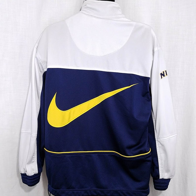 1b3157965429 Nike Jacket Vintage 90s Jumbo Swoosh Spell Out White Tag Blue
