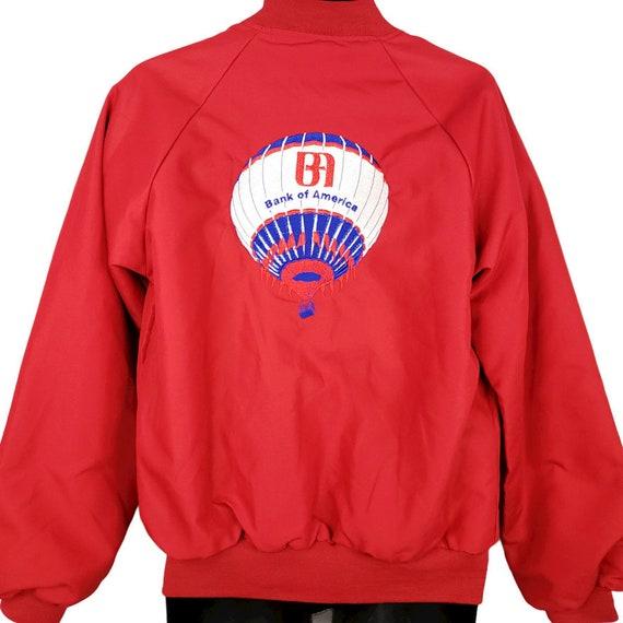 Vintage Piper aircraft nylon bomber jacket 1980\u2019s red blue spellout men\u2019s LXl fit unisex