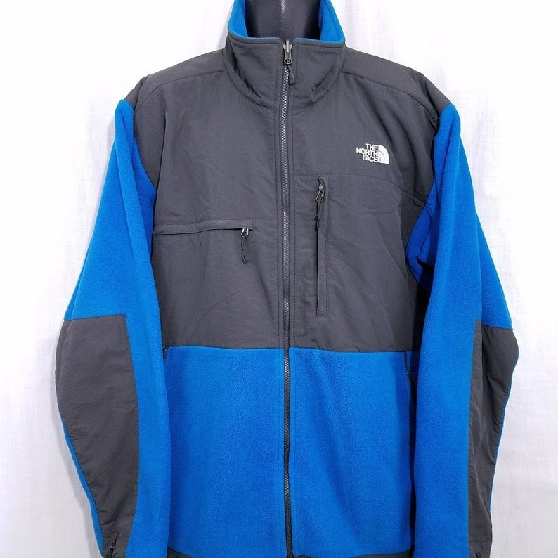 d0bb26392 The North Face Denali Fleece Jacket Vintage 90s Full Zip Polartec Blue Gray  Mens Size 2XL