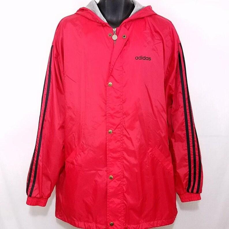 fa7b0442bedc Adidas Windbreaker Jacket Vintage 90s Full Zip Snap Lined Hood