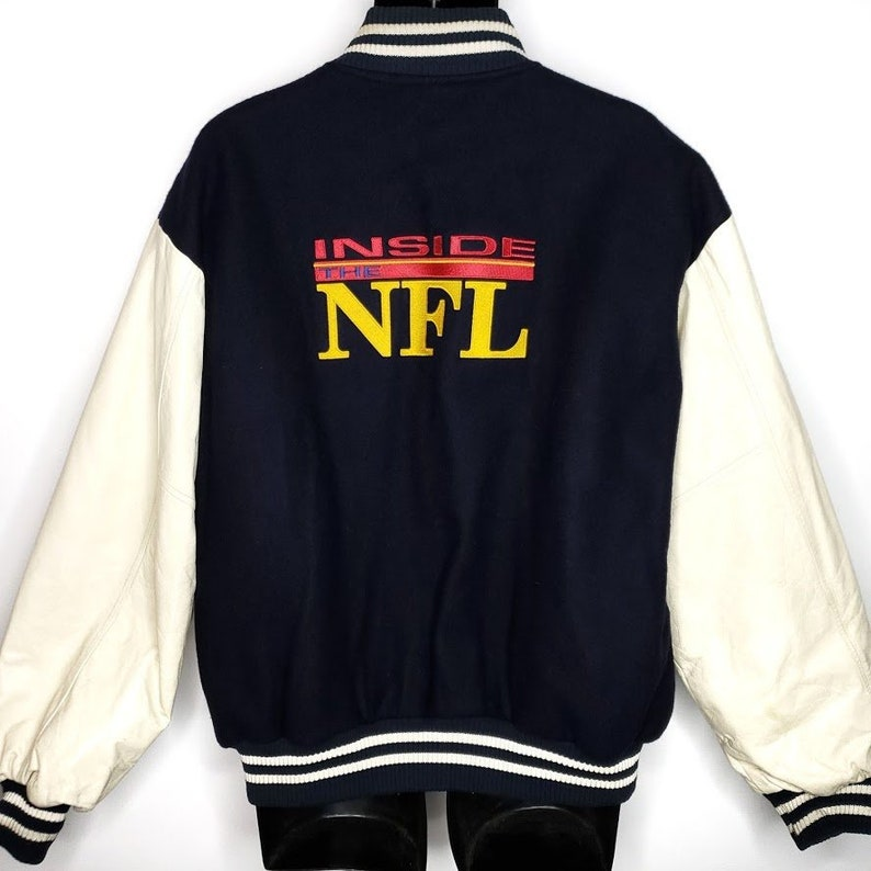size 40 0ca29 a5ec7 HBO Sports Inside The NFL Varsity Letterman Bomber Jacket Vintage 90s  Football Wool Leather Made In United States Mens Size XL