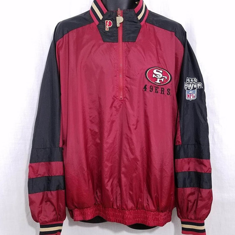 on sale 7218f 6d3d1 San Francisco 49ers Windbreaker Jacket Vintage 90s Reversible Pullover Mens  Size Large