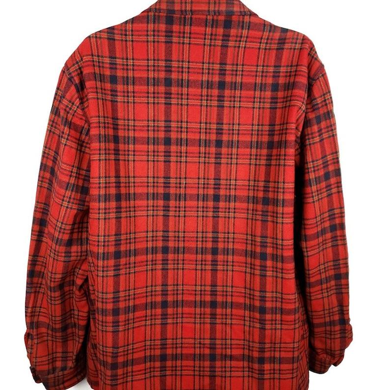 Pendleton Smoking Lounge Jacket Vintage 60s Christmas Holiday Red Tartan Plaid Wool Blazer Made In USA Mens Size XL
