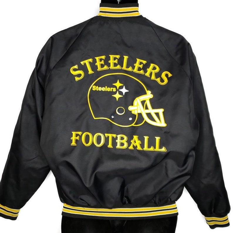 on sale a4def d0f91 Pittsburgh Steelers Satin Bomber Jacket Vintage 80s Castaneda Made In USA  Mens Size Small