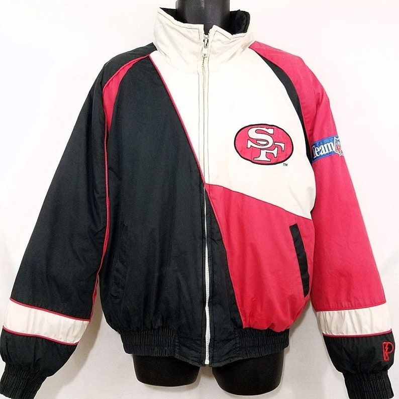 competitive price b6cde cb6aa San Francisco 49ers Jacket Vintage 90s Puffer Quilted Colorblock Mens Size  Large