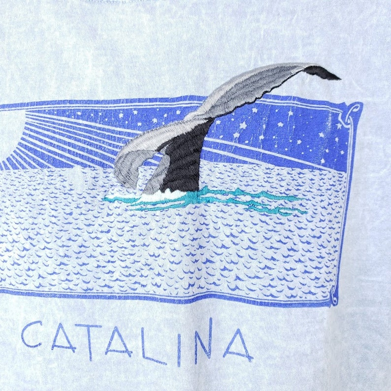 Catalina Whale Watching T Shirt Vintage 90s Gray Whale Stonewash Embroidered Made In USA Mens Size Large
