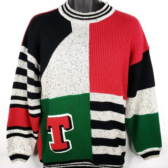 Tangiers Colorblock Letter Sweater Vintage 80s Str