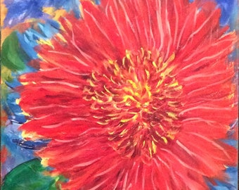 Red Flower on Blue Background, original oil painting